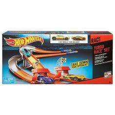 Акция на Детский Игровой Набор Хот Вилс Трек с двумя автомобилями Turbo Race Set 3 Speed Launcher Hot Wheels Mattel от Allo UA