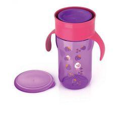 Акция на Детская Чашка с клапаном и крышкой для питья с ручками фиолетовая с рисунком овечки 340мл 12мес AVENT Авент от Allo UA