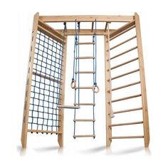 Акция на Детская шведская спортивная стенка, спортивный комплекс уголок, турник, кольца, лестница, рукоход 240х150 см S4-240 от Allo UA
