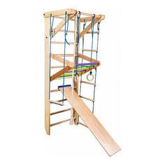 Акция на Детская шведская спортивная стенка, спортивный комплекс уголок, турник, кольца, лестница, 220х80 см S3-220 от Allo UA