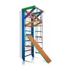 Акция на Детская шведская стенка, спортивный уголок цветной гимнастический, кольца, канат, турник-рукоход, лестница 220х80 см Р3-220 от Allo UA