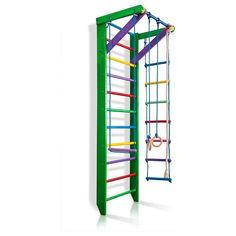Акция на Детская шведская стенка, спортивный уголок цветной гимнастический, кольца, канат, турник, лестница 240х80 см РГ2-240 от Allo UA