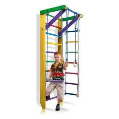 Детская шведская стенка, спортивный уголок цветной гимнастический, кольца, канат, турник, лестница 220х80 см Ю2-220 от Allo UA