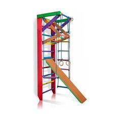 Акция на Детская шведская стенка, спортивный уголок цветной гимнастический, кольца, канат, турник-рукоход, лестница 220х80 см Б3-220 от Allo UA