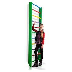 Акция на Спортивная Шведская стенка деревянная для дома, квартиры и зала 220х80 см разноцветная - 0-220 (green) от Allo UA