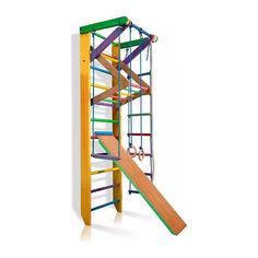 Акция на Детская шведская стенка, спортивный уголок цветной гимнастический, кольца, канат, турник-рукоход, лестница 220х80 см Ю3-220 от Allo UA