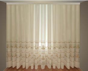 Акция на Тюль Декор-Ин Лен Неаполь Белая с золотой полоской вышивка на льне 280х500 (Vi 100235) от Rozetka