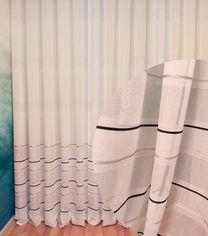 Акция на Тюль Декор-Ин Лен Скарлайн с мережкой и атласной полосой Бело-серый с черным 290х300 (Vi 100825) (ROZ6400051043) от Rozetka