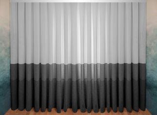 Акция на Тюль-штора Декор-Ин Плотный лен Сафари с полосой Бело-серый с черным 280х700 (Vi 100923) (ROZ6400051141) от Rozetka