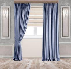 Акция на Комплект штор Декор-Ин Бархатные 275x250 см 2 шт Сине-голубые (Vi 101720) от Rozetka