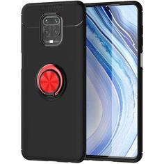 Акция на TPU чехол Deen ColorRing под магнитный держатель (opp) для Xiaomi Redmi Note 9s/Note 9 Pro/9 Pro Max Черный / Красный от Allo UA