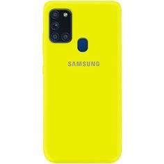 Акция на Чехол Silicone Cover My Color Full Protective (A) для Samsung Galaxy A21s Желтый / Flash от Allo UA