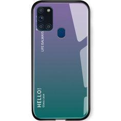 Акция на TPU+Glass чехол Gradient HELLO для Samsung Galaxy A21s Сиреневый от Allo UA