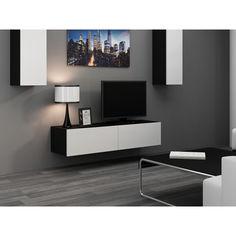Акция на Тумба под ТВ подвесная Vigo 140 Cama Черный матовый + Белый глянец от Allo UA