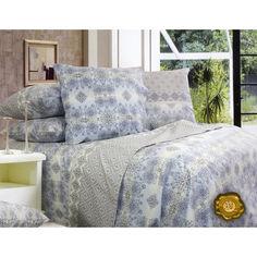 Акция на Комплект постельного белья  Еней-Плюс С0141 голубой, серый Двойной от Allo UA