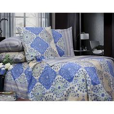 Акция на Комплект постельного белья Еней-Плюс Двойной Т0632 синий, белый от Allo UA