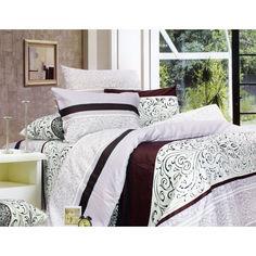 Акция на Комплект постельного белья Еней-Плюс Двойной С0163 белый, сиреневый, коричневый от Allo UA