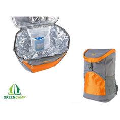 Акция на Термосумка + аккумулятор холода Green Camp, рюкзак холодильник, терморюкзак для пляжа, пикника, отдыха на 19,8 л Серый с оранжевым от Allo UA
