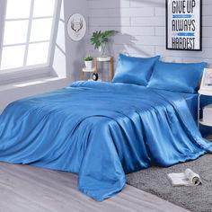 Акция на Шелковое постельное белье Zastelli Синее полуторное от Allo UA