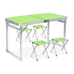 Акция на Раскладной стол чемодан Folding Table Усиленный для пикника со стульями Зеленый от Allo UA