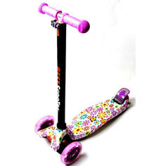 Акция на Детский самокат со светящиеся колёсами Scooter MAXI Violet Flowers от Allo UA