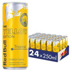 Акция на Упаковка энергетического напитка Red Bull Желтая серия со вкусом тропических фруктов 0.25 л х 24 банки (9002490228491) от Rozetka