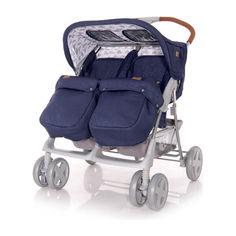 Акция на Детская коляска прогулочная для двойни Lorelli TWIN (dark blue clouds) от Allo UA