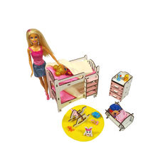 Акция на Кукольная мебель ЭКО для кукол в кукольный домик - в наборе кровать, лошадка, люлька, комод (3114) от Allo UA