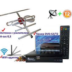 Акция на Комплект DVB-S2/T2 Комбинированный тюнер Eurosky ES-19 Combo + антенна для Т2 комнатная с усилителем A-sus 0,3+WiFi-адаптер от Allo UA