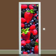 Акция на Наклейка на дверь Лесная ягода (виниловая наклейка, самоклейка, оклеить дверь) от Allo UA