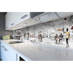Акция на Наклейки кухонный фартук Cafe Paris 600х2500 мм белый от Allo UA