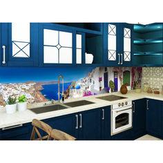 Акция на Наклейки кухонный фартук Zatarga Завораживающая Греция 600х2500 мм синий от Allo UA