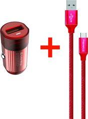 Акция на Автомобильное зарядное устройство ColorWay 1USB Quick Charge 3.0 (18W) Red + Кабель ColorWay USB Type-C 2.1А 1 м Red (CW-CHA012Q-RD-CBU) от Rozetka