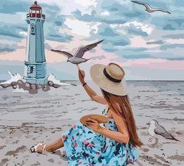 Акция на Набор для творчества Rosa Start акриловая живопись по номерам Девушка и чайки 35 х 45 см (4823098514077) от Rozetka