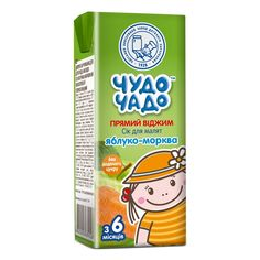 Акция на Сок Чудо-Чадо Яблоко Морковь прямой отжим 200 мл 6982 ТМ: Чудо-Чадо от Antoshka
