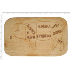 Акция на Доска сувенирная HOT-KITCHEN Схема разделки свинины Деревянная с выжиганием 22*37 см (558) от Allo UA