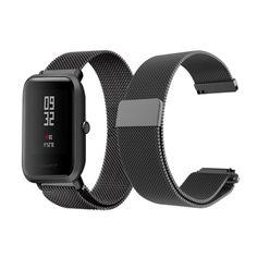 Акция на Браслет для Xiaomi Amazfit BIP | GTS | GTR42mm миланская петля 20mm Ремешок Черный BeWatch (1010201) от Allo UA