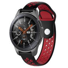 Акция на Ремешок для Samsung Galaxy Watch 46 мм | Gear S3 | Galaxy Watch 3 45 mm силиконовый перфорированный Черно-Красный BeWatch (1020113) от Allo UA