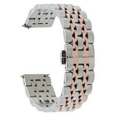 Акция на Браслет для Amazfit Stratos | Pace | GTR 47mm Ремешок 22мм Link Xtra стальной Серебро - Розовое золото BeWatch (1021438) от Allo UA
