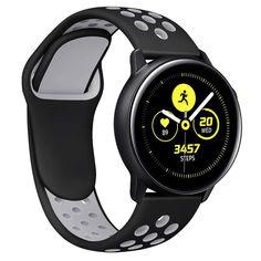Акция на Ремешок для смарт-часов Samsung Galaxy Watch Active | Active 2 40mm силиконовый пефорированный 20мм Черно Серый BeWatch (1010114) от Allo UA
