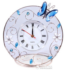 Акция на Часы Charme De Femme Синяя бабочка белый циферблат в прозрачной рамке (298-CK) от Rozetka