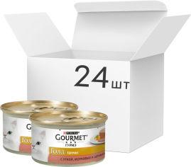 Акция на Упаковка влажного корма для кошек Purina Gourmet Gold с уткой, морковью и шпинатом, кусочки в паштете 24 шт по 85 г (7613033728785) от Rozetka