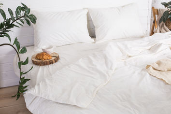 Акция на Комплект постельного белья Novita Сатин 20-0709 210х220 White (ROZ6205021661) от Rozetka