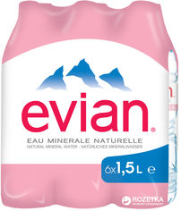 Упаковка минеральной негазированной воды Evian 1.5 л х 6 бутылок (3068320085005) от Rozetka