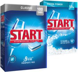 Акция на Набор Start Таблетки для посудомоечной машины Classic 100 шт + Соль 1.5 кг (0120061800053) от Rozetka