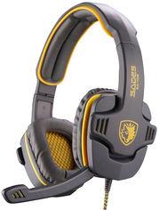Акция на Наушники Sades SA-708 Stereo Gaming Headphone/Headset with Microphone Grey/Yellow (SA708-G-Y) от Rozetka