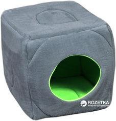 Акция на Лежак для собак и кошек Мур-Мяу Пуфик 45х45х45 см Серо-зелёный (4823129223680) от Rozetka
