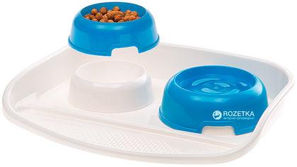 Пластиковый поднос с мисками для кошек и собак Ferplast Maxi Lindo 0.5 л Синий (71920021-Blue) от Rozetka