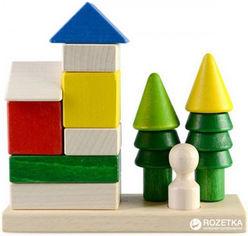 Акция на Деревянная пирамидка-конструктор Руді Домик в лесу 12 деталей (Ду-24) от Rozetka