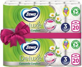 Акция на Туалетная бумага Zewa Deluxe аромат ромашка трехслойная 20 рулонов + 20 рулонов (7322540556087) от Rozetka